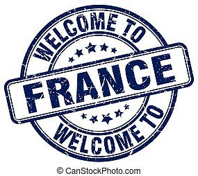 welcome to France blue round vintage stamp