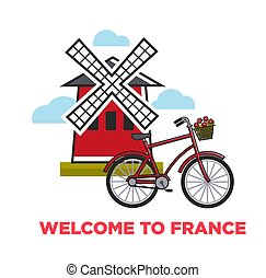 Moulin rouge and city bicycle welcome to France French symbols vector mill and vehicle with flower basket architecture and transport traveling and tourism attractions rural construction and bike.