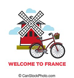Moulin rouge and city bicycle welcome to France French symbols vector mill and vehicle with flower basket architecture and transport traveling and tourism attractions rural construction and bike