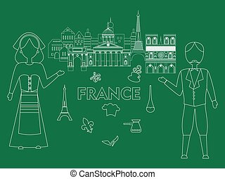 welcome to france - illustration in the style of a flat...