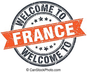 welcome to France orange round ribbon stamp