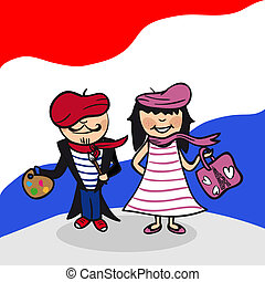 Welcome to France people - French man and woman cartoon...