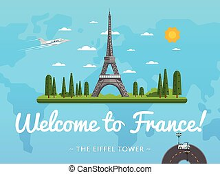 Welcome to France poster with famous attraction vector...