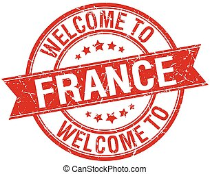 welcome to France red round ribbon stamp