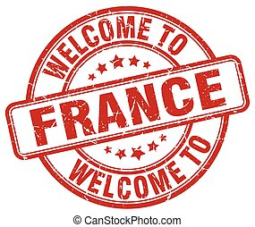 welcome to France red round vintage stamp