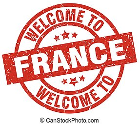 welcome to France red stamp