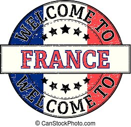 welcome to france round stamp