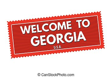 Welcome to Georgia travel sticker or stamp