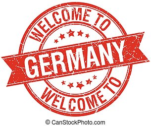 welcome to Germany red round ribbon stamp