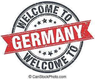 welcome to Germany red round vintage stamp