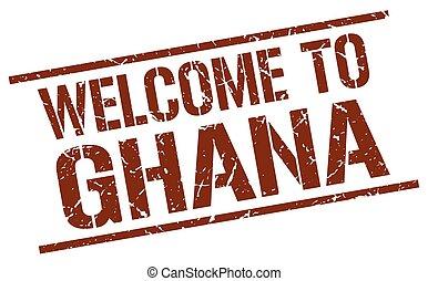 welcome to Ghana stamp
