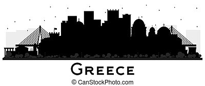 Welcome to Greece City Skyline Silhouette with Black Buildings Isolated on White.