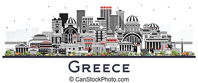 Welcome to Greece City Skyline with Gray Buildings Isolated on White.
