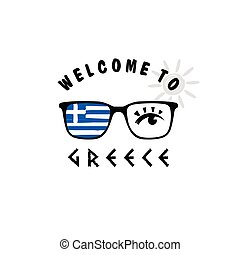 welcome to greece icon paradise on sunglasses illustration