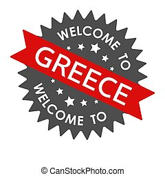 Welcome to GREECE. Round label with red ribbon