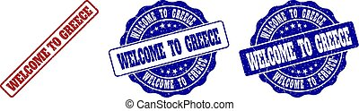 WELCOME TO GREECE Scratched Stamp Seals