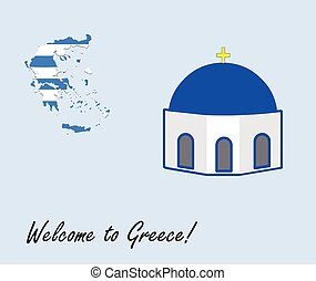 welcome to greece vector card - greek map and blue chapel...