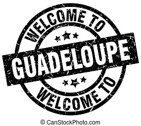 welcome to Guadeloupe black stamp