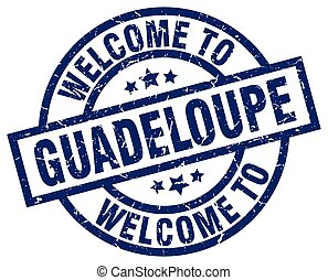 welcome to Guadeloupe blue stamp