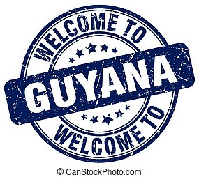welcome to Guyana blue round vintage stamp
