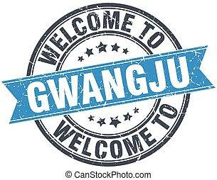 welcome to Gwangju blue round vintage stamp