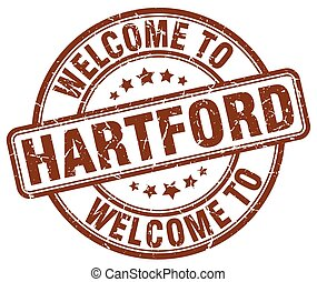 welcome to Hartford brown round vintage stamp