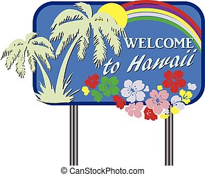 Welcome to Hawaii - Stylized road sign Welcome to Hawaii....