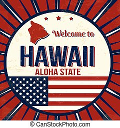 Welcome to Hawaii vintage grunge poster