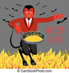 Welcome to Hell. Devil holding frying pan for sinners. Satan invites in purgatory. Red demon with horns and tail. Lucifer boss with horns. Religious and mythological character,   supreme spirit of evil. Diablo lord of underworld.