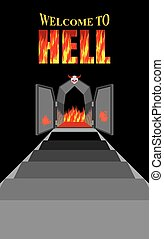 Welcome to hell. Stairway to hell. Iron black gates of  Fiery purgatory. Door to devil, Satan. Stairs in Dungeon. Descent into deep dark cave. Vector illustration on religious subjects. Door is decorated with antlered skull.