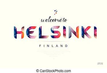 Welcome to helsinki finland card and letter design typography icon