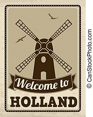 Welcome to Holland retro poster - Welcome to Holland in...