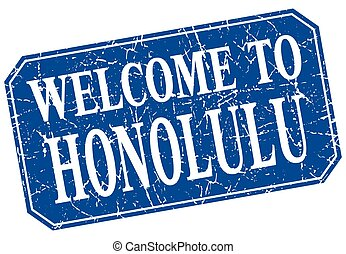 welcome to Honolulu blue square grunge stamp