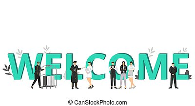 Welcome to hotel flat color vector illustration. Hospitality business, accommodation service. Hall porter, doorman, resort manager. Working staff isolated cartoon characters on white