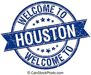 welcome to Houston blue round ribbon stamp