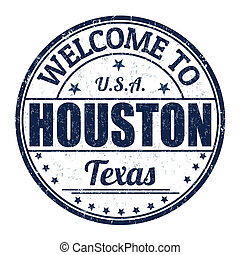 Welcome to Houston grunge rubber stamp on white background, vector illustration