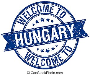 welcome to Hungary blue round ribbon stamp