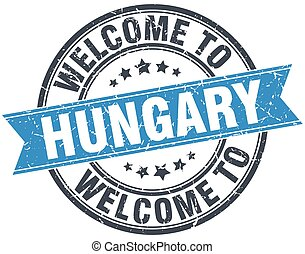 welcome to Hungary blue round vintage stamp