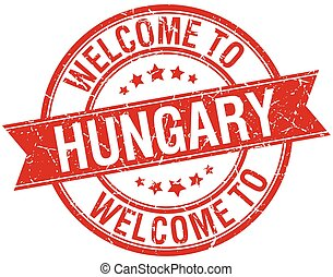 welcome to Hungary red round ribbon stamp