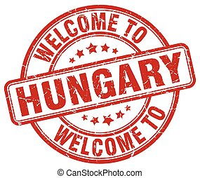 welcome to Hungary red round vintage stamp
