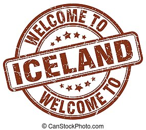 welcome to Iceland brown round vintage stamp