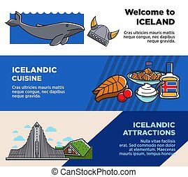 Welcome to Iceland, Icelandic cuisine and attractions posters