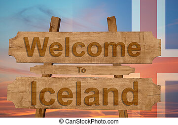 Welcome to Iceland sing on wood background with blending national flag
