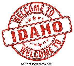 welcome to Idaho red round vintage stamp