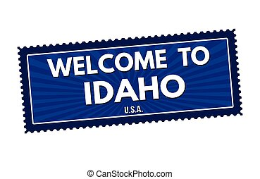 Welcome to Idaho travel sticker or stamp