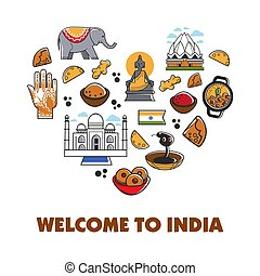 Welcome to India travel vector heart poster