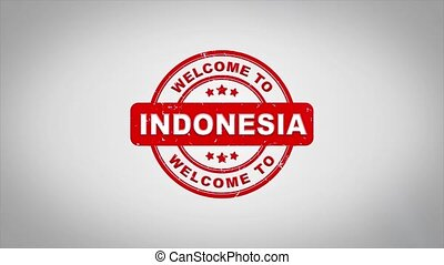 Welcome to INDONESIA Signed Stamping Text Wooden Stamp Animation.