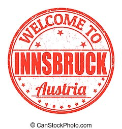 Welcome to Innsbruck, Austria stamp