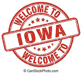 welcome to Iowa red round vintage stamp