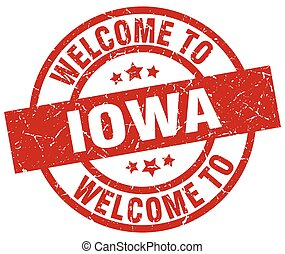 welcome to Iowa red stamp